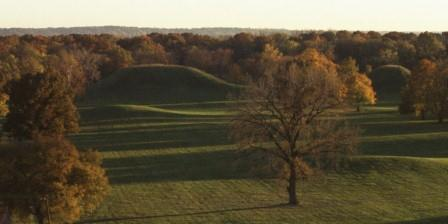 The view from the top of that high mound shows that its lesser neighbors were themselves substantial.