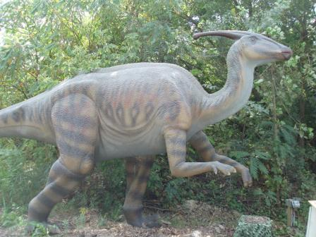 A model of a hadrosaur, Brookfield Zoo. These possibly hold the all-time record for tooth tissue complexity.