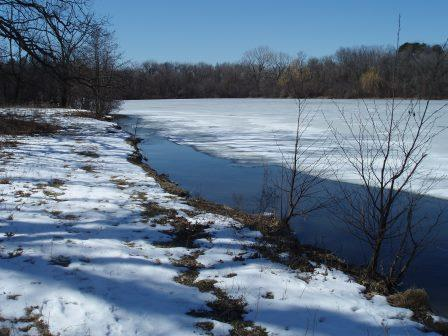 Mays' Lake was almost entirely ice covered on March 13.