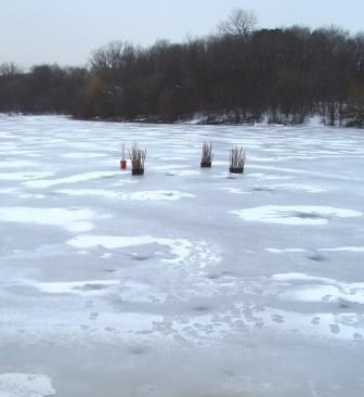 Forest Preserve District rangers placed these fish structures out on the Mays' Lake ice early in March.