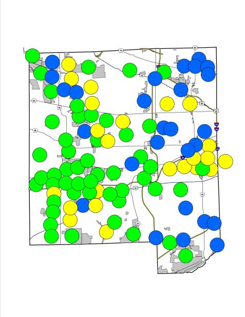 Here's the composite map to date. Green dots represent locations with both species, yellow show places with only fall field crickets, and blue with only spring field crickets (so far).