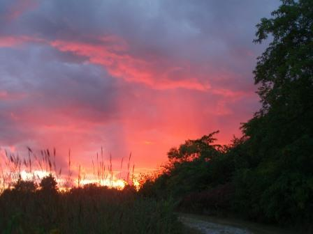 The sunset was a beautiful prelude to a rainy evening in camp.