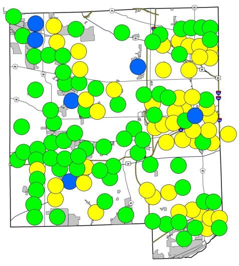Here is the recently updated map. Green circles represent places where both species occur, blue ones mark spring field cricket-only locations, and yellow indicate where I have heard fall field crickets but not the spring species.