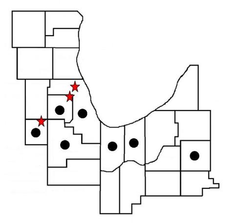 Regional species map for the jumping bush cricket. Black dots indicate counties where they have been found to occur so far. The red stars indicate the farthest north locations for Kendall, DuPage and Cook Counties, the last decidedly north of the others.
