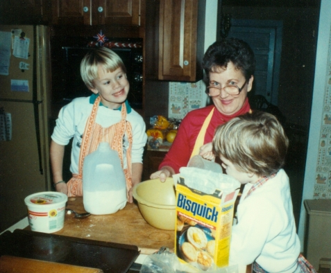With grandsons Greg and Derek, Thanksgiving 1988