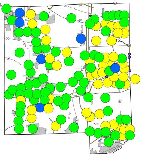 Green circles represent places where both species may be found. Yellow circles are fall field crickets only, blue circles are spring field crickets only.