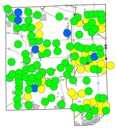 If you compare, you will see that many of the yellow circles now are green.
