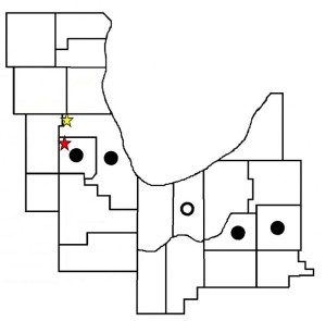 The red star indicates the previous location at West Branch Forest Preserve in DuPage County. Penny Road Pond is marked by the yellow star. The two places are around 12 miles apart.