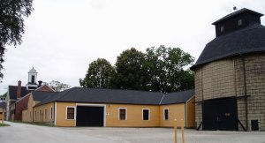The stables and farm buildings form an impressive array.