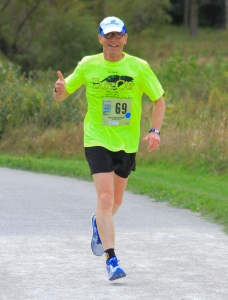 Me at some mid-race point during the recent half-marathon at Moraine Hills State Park.